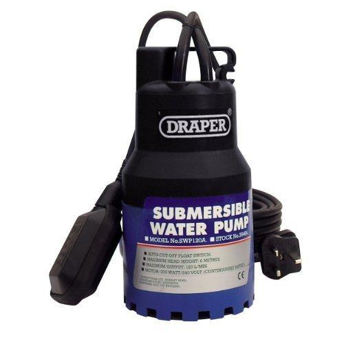 Draper 35464 120-litres-per-minute 230-volt 200-watt Submersible Water Pump - -  submersible water pump 230v 6m lift draper 120lmin 200w float switch