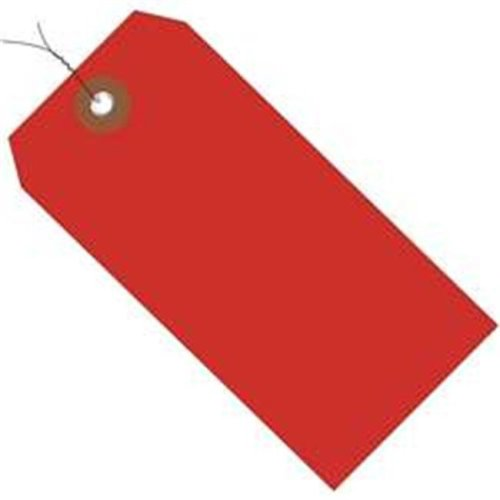 Box Partners G26063W 6.25 x 3.12 in. Red Plastic Shipping Tags - Pre-Wired - Pack of 100
