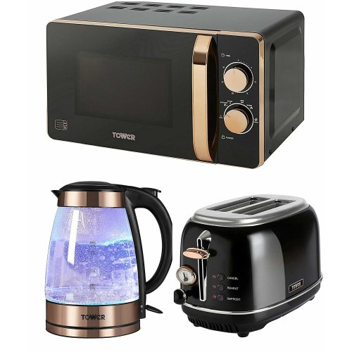 ROSE GOLD & BLACK Manual 20L Microwave, 2 Slice Toaster & 1.7 Litre Illuminated Glass Kettle