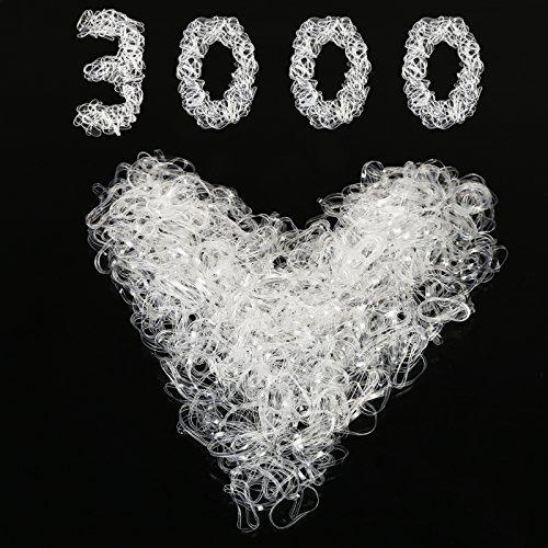 Rubber Hair Bands,SEELOK 3000 Pcs Clear Elastic Ties Braiding Bands Hair Holder for Kids Girls Hair (Clear)