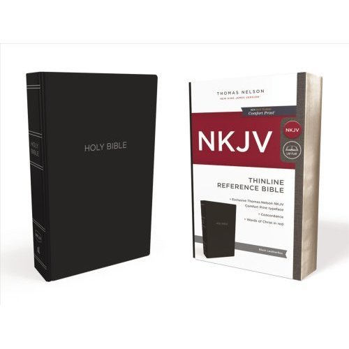 NKJV, Thinline Reference Bible, Leather-Look, Black, Red Letter Edition, Comfort Print
