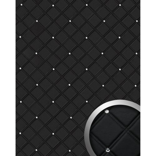 WallFace 15034 CRISTAL ROMBO Wall panel self-adhesive leather black 2.6 sqm
