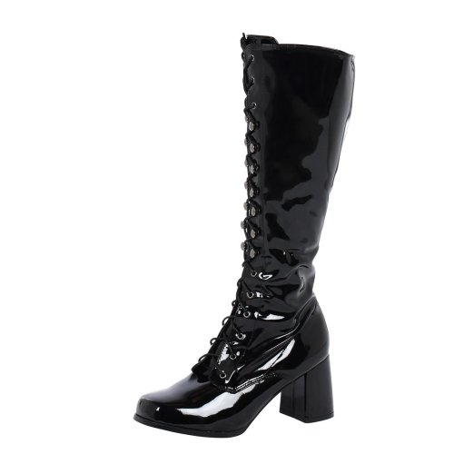 Gretchen Womens Block Heel Lace Up Knee High Boots