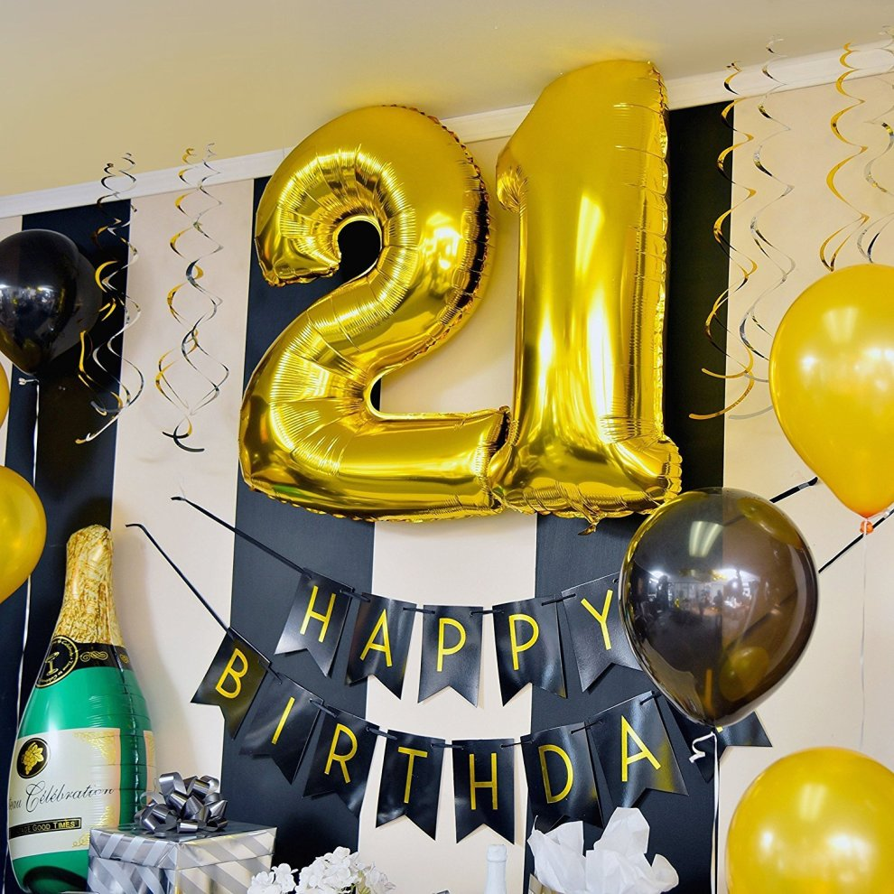 21st Birthday Party Pack AEUR Black Gold Happy Bunting Poms