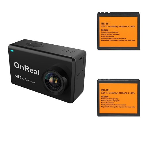 "OnReal Action Camera 4K 16MP Wifi Sport Camera with 2.45"" Touch screen 170 Degree Wide View Angle Anti Shake Waterproof Action Cam With Two Battery"