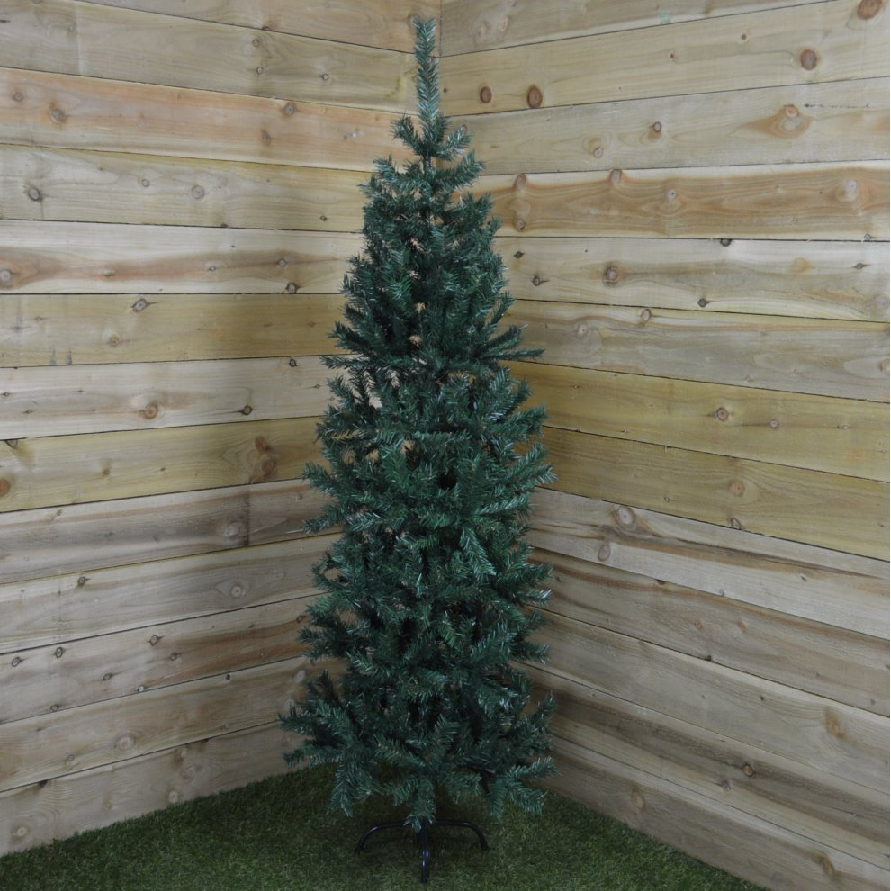 240cm 8ft Premier Slim Christmas Pine Tree In Green 91cm Wide