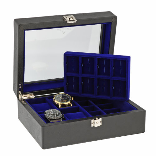 16 Pair Cufflinks and 4 Watch Box Genuine Black Leather by Aevitas