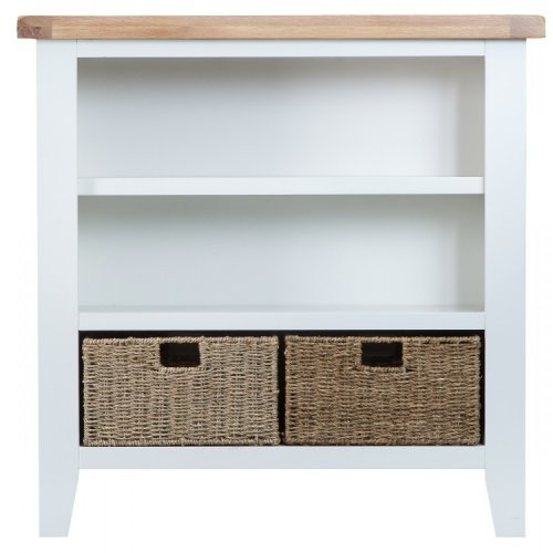 Tenby White Painted Furniture Small Wide Bookcase with Baskets