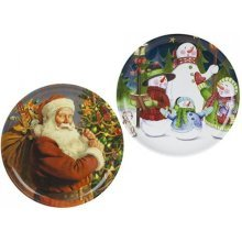 Snow White Branded Pack Of 2 Christmas Pattern Drinks Serving Trays, 35.5cm -  christmas santa drinks serving set 2 snowman trays design ideal parties