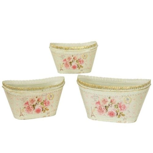 Dolce Mela Dmmv693 S3 French Country Planters Oval Vintage Metal Decorative Vases Flower Pots Set Of 3