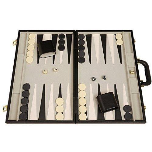 Deluxe Backgammon Board Set - (Black Attache Case) - 15x10