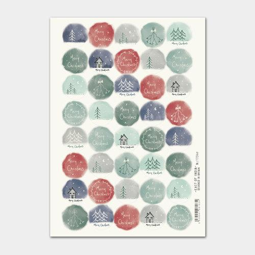 East of India Christmas Cream Drawn stickers Single Sheet 40 Stickers Xmas Craft