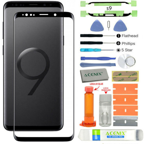 Samsung Galaxy S9 Front Glass Screen Lens Replacement Repair Kit BLACK + UV Glue