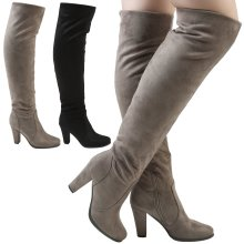 Liza Womens High Block Heel Over the Knee Stretchy Boots