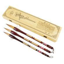 Painting & Calligraphy Tools Set of 3 Chinese Writing Brushes -Box Package