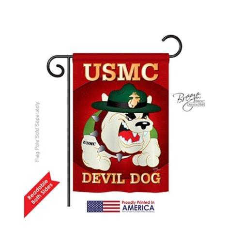 Breeze Decor 58052 Military Devil Dog 2-Sided Impression Garden Flag - 13 x 18.5 in.