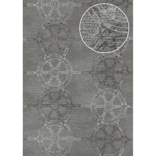 Atlas SIG-585-4 Graphic wallpaper shimmering dusty-grey anthracite 5.33 sqm