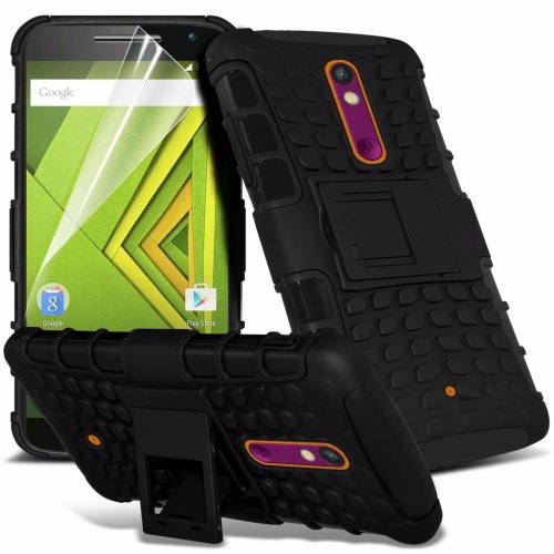 Itronixs - Motorola Moto G4 Rugged Heavy Duty Armour Shock Proof Hard Stand Case Cover with Lcd Screen Protector