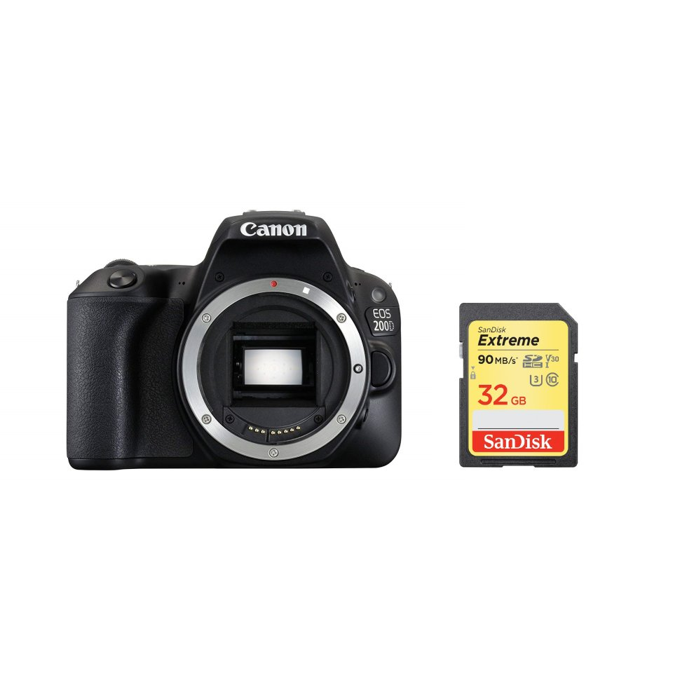 CANON EOS 200D Body Black + SanDisk Extreme 32G SD card