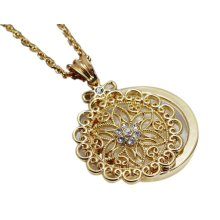 Fashion Magnifying Glass Necklace Decorative Hanging Jewelry, Gold