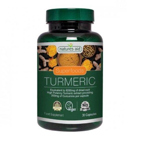 Natures Aid Superfoods Tumeric 30 Caps