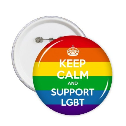 LGBT Stippling Rainbow Gay Lesbian Transgender Bisexuals Support Keep Calm And Support Flag Illustration Round Pins Badge Button Clothing Decoration 5pcs