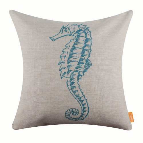"""18""""x18"""" Modern Blue Seahorse Burlap Pillow Cover Cushion Cover"""