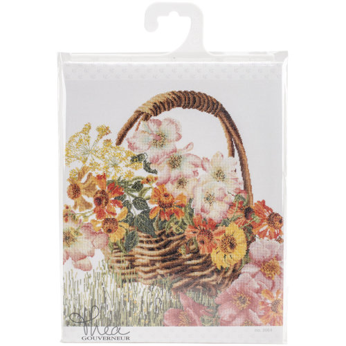 """Flower Basket On Aida Counted Cross Stitch Kit-13.5""""X15.5"""" 18 Count"""