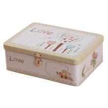 Lovely Password Box Desktop Storage/Cosmetics Box Lock With Iron Box-Love