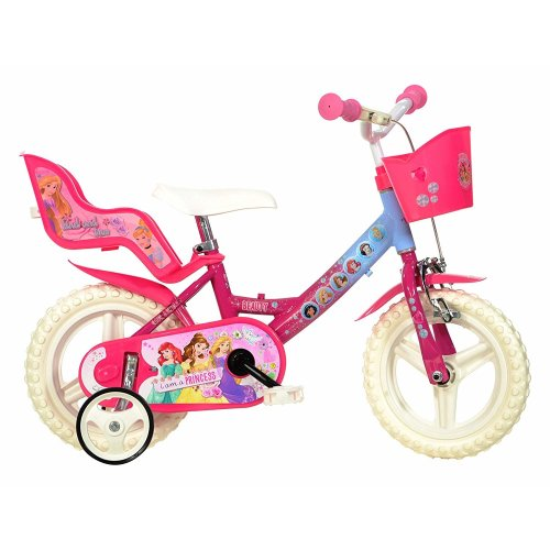 "Dino Disney 12"" Wheel Princess Pink Girls Bike with Doll Carrier"