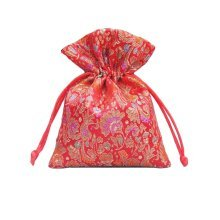 Flower Design Candy Pouch Drawstring Bag Cloth Gift Bag 20pcs-Red