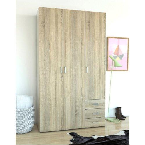 Triple Wardrobe 3 Door 3 Drawer Robe Clothes Storage Hanging Shelving Closet Oak