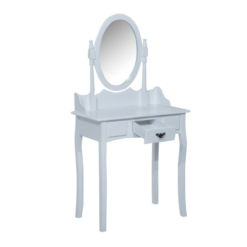 Homcom Wooden Dressing Table Vanity Set Seat W/ Mirror & Stool (white)