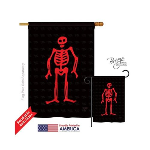 Breeze Decor 07035 Pirate Edward Low 2-Sided Vertical Impression House Flag - 28 x 40 in.