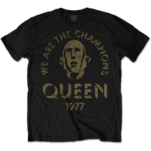 Queen Mens Black T Shirt We Are The Champions Official Large