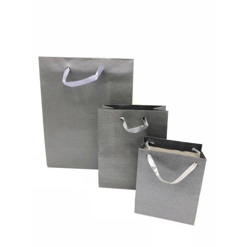 6 Pack Dark Grey Gift Bags Ribbon Handles Kraft Paper Birthdays Gifts Bulk Buy
