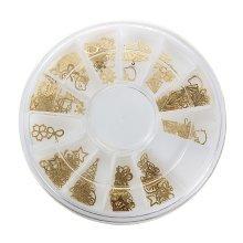 Gold Metal Nail Art Tip Design Wheel DIY Decal Sticker Decoration Manicure