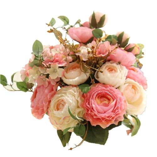 Kirinhomlife Fake Flowers Artificial Plants Silk Plastic Rose Flower Arrangements Wedding Bouquets Decorations Fl Table Centerpieces