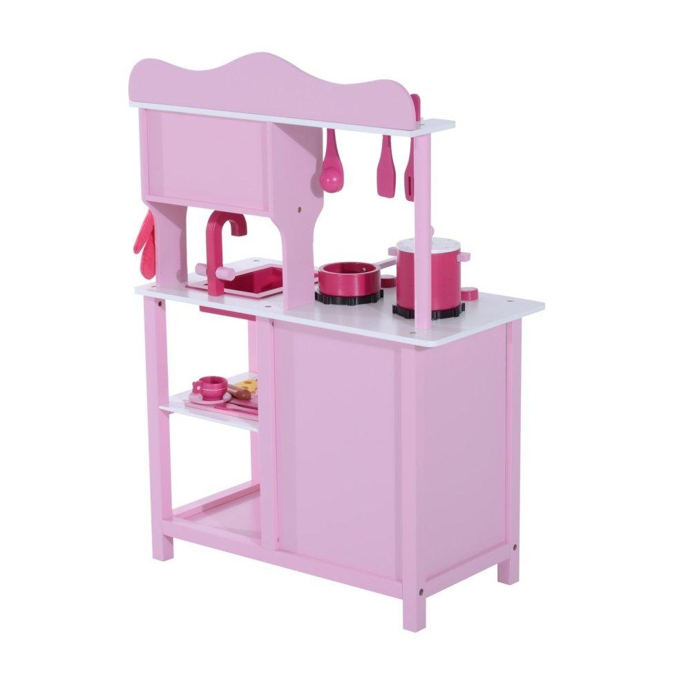 ... Homcom Wooden Kidsu0027 Kitchen   Pink Kitchen Playset ...