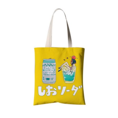 Japanese Style Illustration Canvas Bag Travel Bag Shopping Bag A Girl In The Cup