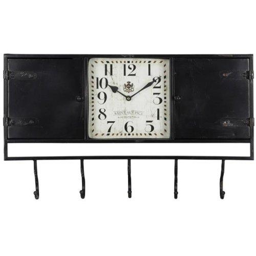 Cooper Classics 40736 24 x 4 x 14 in. Norwood Clock with Worn Black Undertones, Black Metal