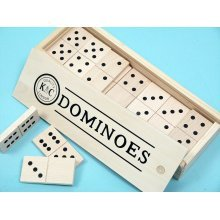 Double six giant wooden dominoes with black spots 00130