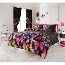 Fashion Butterfly black and pink duvet cover