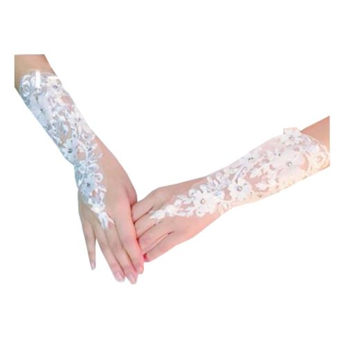 Women's Elegant Lace Fingerless Gloves for Wedding Party Brides Accessory - B