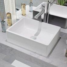 142339 vidaXL Basin Ceramic White 41x30x12 cm