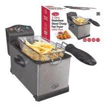 Stainless Steel Deep Fat Fryer 3 Litre Quest Professional Chip Kitchen Large 3L