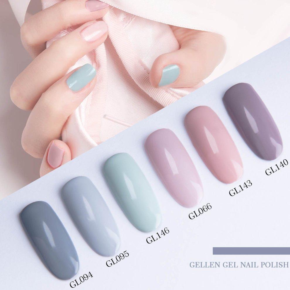 92cf539f5c ... Gellen Gel Polish Kit - 8ml 6 Colours Gel Nail Polish, UV LED Soak off  ...