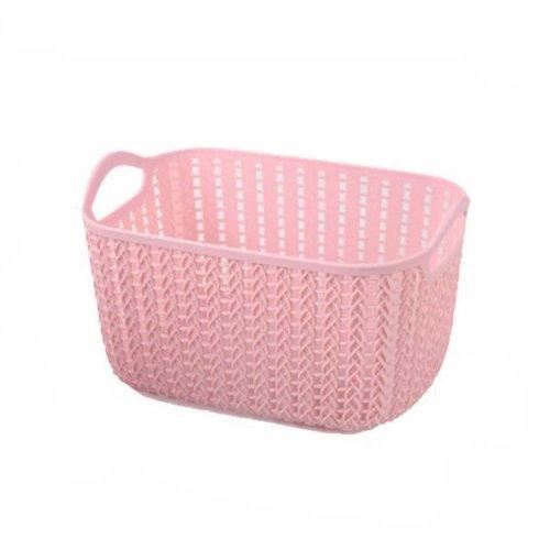 Plastic Woven Storage Basket Box Portable Bathroom Cosmetic Organizer Pink