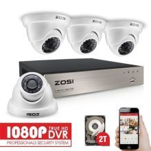 ZOSI 1080P CCTV Camera Syetem with Hard Drive (2TB) 8CH 1080P DVR For CCTV System 4x1080P Security Cameras IP66 Weatherproof 20m Night Vision
