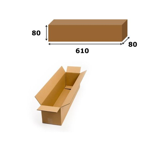 1x Postal Cardboard Box Long Mailing Shipping Carton 610x80x80mm Brown